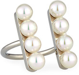 Majorica Minimalist Pearl Bar Open-Front Ring, Silver