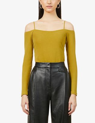 AllSaints Audrey cold-shoulder stretch-cotton bodysuit