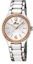 Lotus Women's Quartz Watch with White Dial Analogue Display and White Ceramic Bracelet 15933/4