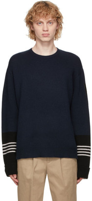 Neil Barrett Navy Striped Cuff Travel Techno Sweater
