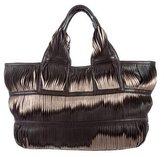 Donna Karan Paneled Leather Tote Bag