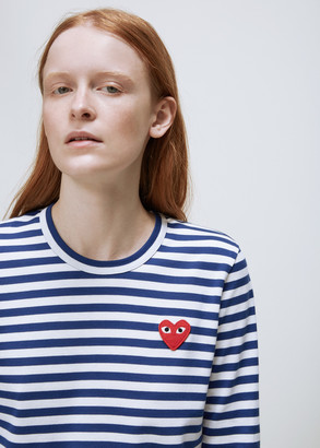 Comme des Garcons Women's Long Sleeve Red Heart T-Shirt in Blue/White Stripe Size Large 100% Cotton