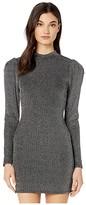 BCBGeneration Cocktail Mock Neck Shirred Sleeve Knit Dress TMQ6263104 (Black) Women's Clothing