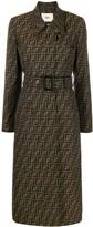 Fendi belted FF motif trench coat