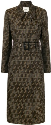 Fendi belted FF motif trench coat