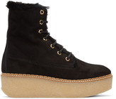 Flamingos SSENSE Exclusive Black Shearling Stacy Boots