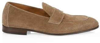 Brunello Cucinelli Suede Structured Penny Loafers