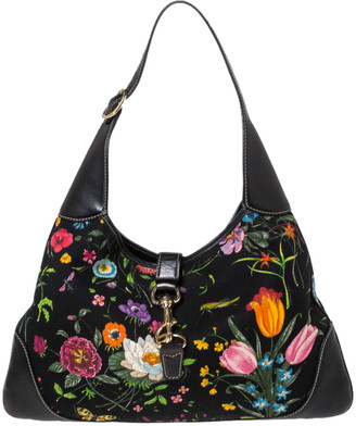 Gucci Black Floral Print Canvas and Leather Jackie O Hobo
