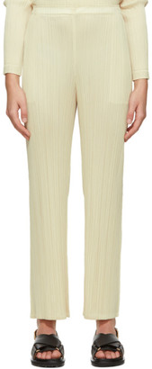 Pleats Please Issey Miyake Off-White Monthly Colors December Trousers