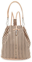 Elizabeth and James Cynnie Spotted Leather Backpack, Champagne/Black