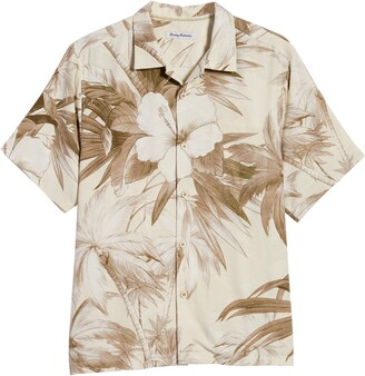 Tommy Bahama Harbour Island Hibiscus Short Sleeve Silk Button-Up Camp Shirt