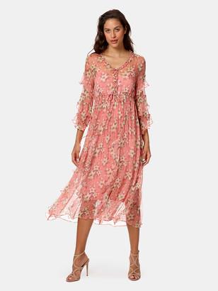 Stellah Ruffle Trim Midi Dress