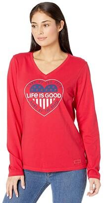 Life is Good Heart Flag Long Sleeve Crusher Vee (Positive Red) Women's T Shirt