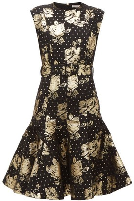 Emilia Wickstead Danni Metallic Floral Jacquard Flared Dress - Womens - Black Gold