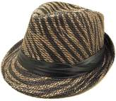 TrendsBlue Animal Print Ribbon Band Fedora Straw Hat, Black & Brown Zebra
