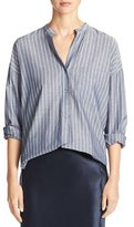 Vince Wide-Stripe Mandarin-Collar Pullover Shirt, Blue