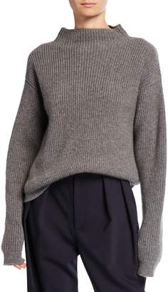 Deveaux New York Cashmere Ribbed Mock-Neck Sweater