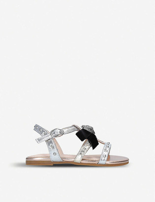 Kurt Geiger Luminate metallic faux-leather sandals 7-10 years