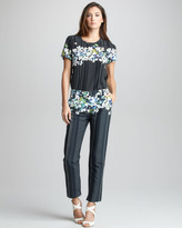 3.1 Phillip Lim Floral/Stripe-Print Cropped Trousers