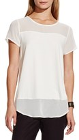 Vince Camuto Women's Chiffon Yoke Short Sleeve Top