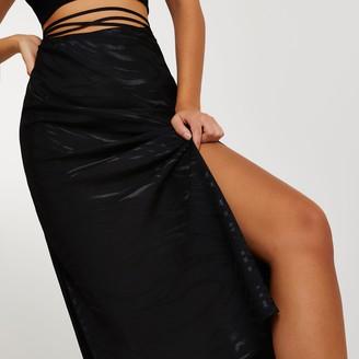 River Island Womens Black bias tie waist maxi skirt