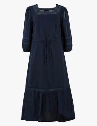 Marks and Spencer Pure Cotton Lace Trim Midi Waisted Dress