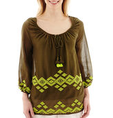 JCPenney STYLUS Stylus 3/4-Sleeve Embroidered Gauze Peasant Top