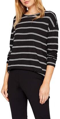 Sanctuary Mina Waffle Tunic (Black/Soymilk Stripe) Women's Clothing