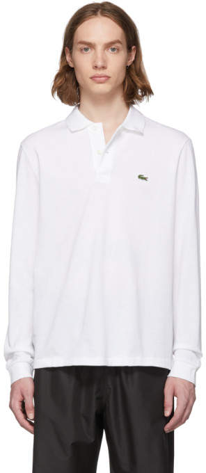 Lacoste White Pique Classic Long Sleeve Polo