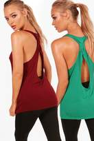 boohoo Poppy Fit Twist Back 2 Pack Vest Tops