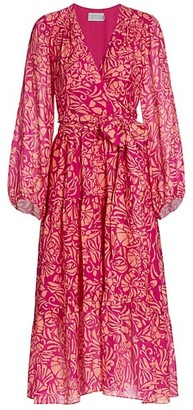 Tanya Taylor Liza Floral Print Silk Midi Wrap Dress
