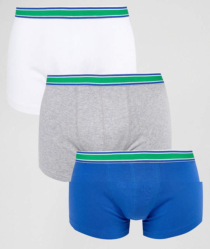 Asos Trunks With Striped Waisband 3 Pack Save