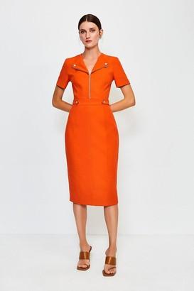Karen Millen Zip Placket Short Sleeve Pencil Dress