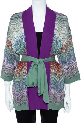 M Missoni Purple Wool Blend Pointelle Knit Belted Cardigan M