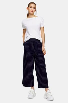 Topshop Navy Pinstripe Crop Wide Leg Pants