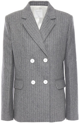 Sandro Double-breasted Pinstriped Wool-blend Felt Blazer
