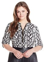 Calvin Klein Women's Plus-Size Print Zip-Front Roll Sleeve Top