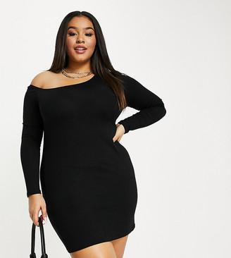 ASOS DESIGN Curve bare shoulder mini dress in black
