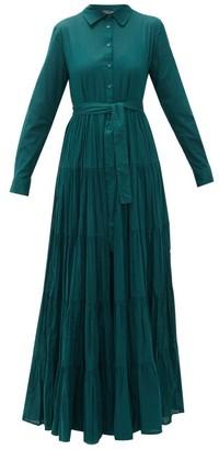 Mes Demoiselles Calam Banded Cotton-poplin Shirt Dress - Dark Green