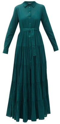 Mes Demoiselles Calam Banded Cotton-poplin Shirt Dress - Womens - Dark Green