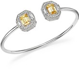Judith Ripka Sterling Silver Avery Baguette Cuff with Canary Crystal and Rock Crystal