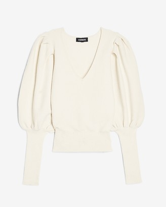Express Extreme Balloon Sleeve V-Neck Sweater