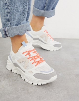 Pimkie panelled chunky trainers in off white