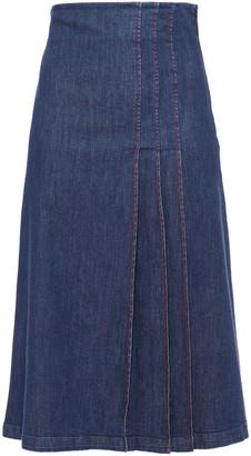 Stella Jean Pleated Denim Midi Skirt