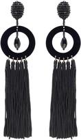 Oscar de la Renta Black Circle Drop Tassel Earrings