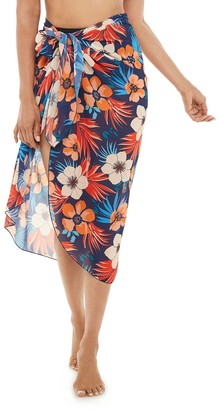 Women's Beach Scene Floral Side-Tie Sarong Cover-Up