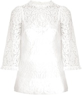 Dolce & Gabbana Scallop-edged hem lace blouse