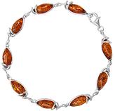 Goldmajor Sterling Silver Amber Marquise Link Bracelet, Silver/Cognac