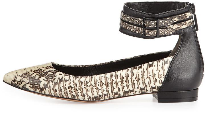 Pour La Victoire Renoir Snake-Print Ankle-Wrap Flat, White/Black