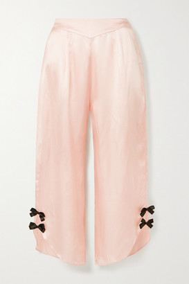 Morgan Lane Margo Bow-embellished Satin Pajama Pants - Pastel pink
